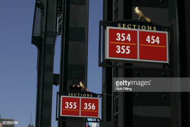 Section signs during the home opening game between the Milwaukee Brewers and the St Louis Cardinals on April 10 2006 at the new Busch Stadium in St...