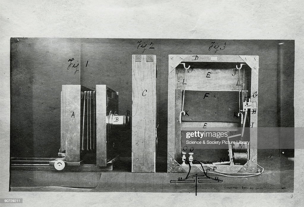 Section through the camera and the back of the electro- shutter used by Muybridge in his experiments. Eadweard Muybridge (1830-1904) was the first photographer to carry out the analysis of movement by sequence photography, an important stage in the invention of cinematography.