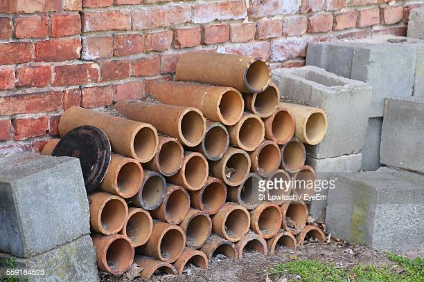 Sections Of Concrete Pipe And Bricks Used In Construction