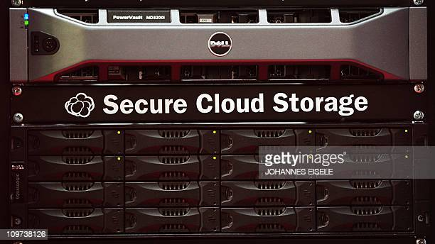 A 'Secure Cloud Storage' drive is pictured at the CeBIT at the CeBIT the world's biggest IT fair on March 3 2011 in Hanover central Germany More than...