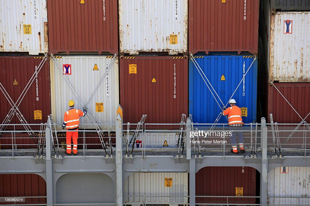 securing of containers at container chip : Stock Photo