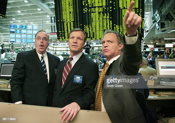 Securities and Exchange Commission Chairman Christopher Cox gets a tour of the Chicago Board of Options Exchange from Edward Joyce President and COO...