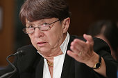 Securities and Exchange Commission Chairman Mary Jo White testifies before the Senate Banking Housing and Urban Affairs Committee in the Dirksen...