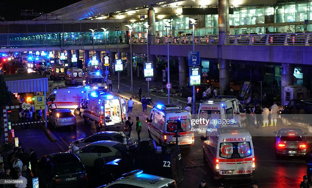 Security and ambulances block the road outside Turkey's largest airport, Istanbul Ataturk, after it was hit by a suicide bomb attack on June 28, 2016, Turkey. Two suicide bombers opened fire before blowing themselves up at the entrance to the main international airport in Istanbul, killing at least 10 people and wounding at least 60 people according to Justice Minister Bekir Bozdagç.