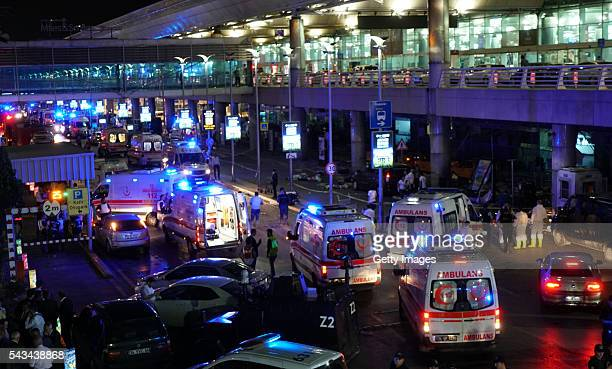 Security and ambulances block the road outside Turkey's largest airport Istanbul Ataturk after it was hit by a suicide bomb attack on June 28 Turkey...