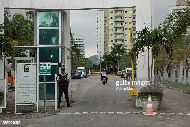 Security at the entrance to a gated community in Barra da Tijuca a famous new borough in the West Zone of Rio located southwest of the city on the...