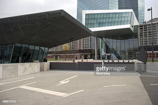 Security barriers stands outside the European Central Bank headquarters in Frankfurt Germany on Thursday Dec 3 2015 European stocks extended losses...