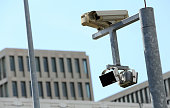 A security camera hangs at the partiallyfinished new headquarters building of Germany's Federal Intelligence Service the Bundesnachrichtendienst on...