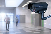 The concept of security through surveillance camera in the corporation or government building.