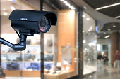The concept of security through surveillance camera in the shopping center.