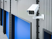 3d rendering security camera or cctv camera in warehouse