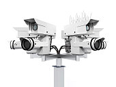 Computer generated 3D illustration with a security camera isolated on white background