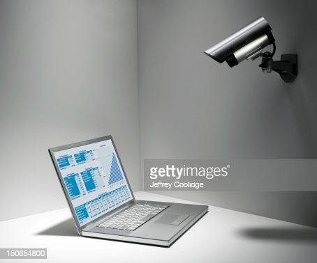 Security Camera on Laptop