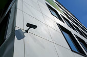 closeup of security camera on modern building