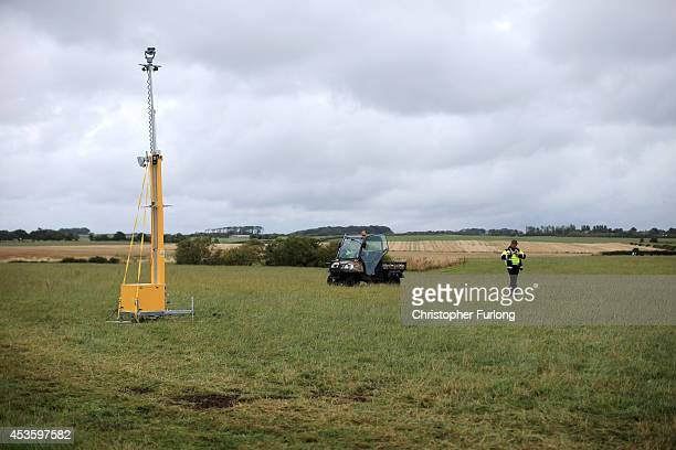 Security cameras and guards protect a proposed drilling rig site at Westby near Blackpool as activists arrive at an antifracking camp at Preston New...