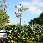 Security cameras at a suburban home