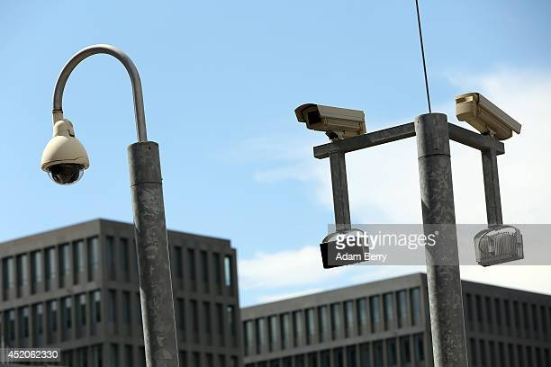 Security cameras hang at the partiallyfinished new headquarters building of Germany's Federal Intelligence Service the Bundesnachrichtendienst on...
