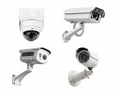 CCTV security cameras isolated white background. with clipping path