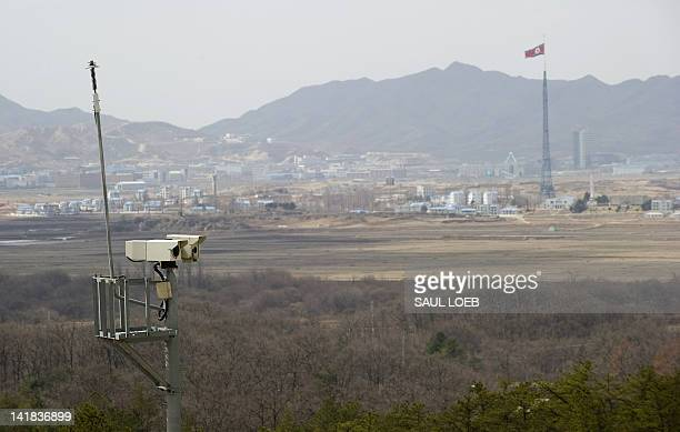 Security cameras look out towards North Korea's propaganda showcase village of Gijeongdong from the South's Observation Post Ouellette in the Joint...