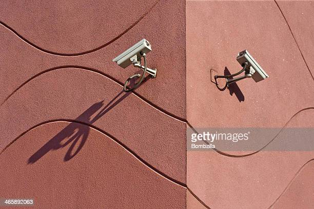 Security cameras on building exterior