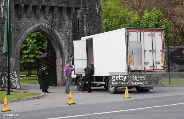 Security check a van outside Ashford Castle in Co Mayo where Golf star Rory McIlroy is to marry Erica Stoll