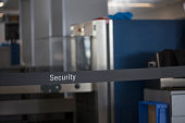 Security check control on the airport. Baggage X-ray scanner checker.