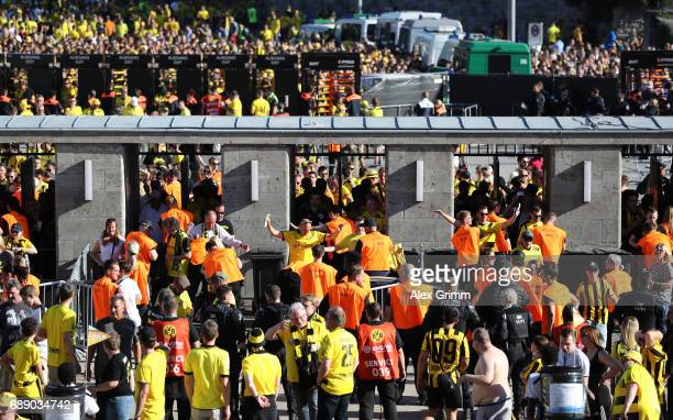 Security checks are seen ahead of the DFB Cup final match between Eintracht Frankfurt and Borussia Dortmund at Olympiastadion on May 27 2017 in...