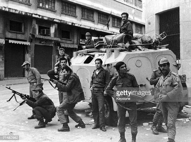 Security forces in Beirut during the Civil War in Lebanon December 1975