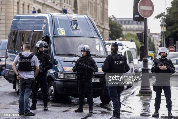 Security forces secure the perimeter around Notre Dame de Paris on June 6 2017 in Paris France At approximately 420 pm local time a policeman was...