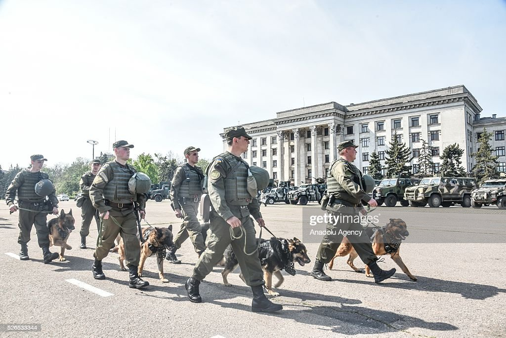 Security forces take security measures around union building against possibility of a provocation for the 2nd anniversary of the May 2 Odessa clashes between pro-Russian protesters and the Ukrainian government supporters, in Odessa, Ukraine on April 30, 2016.