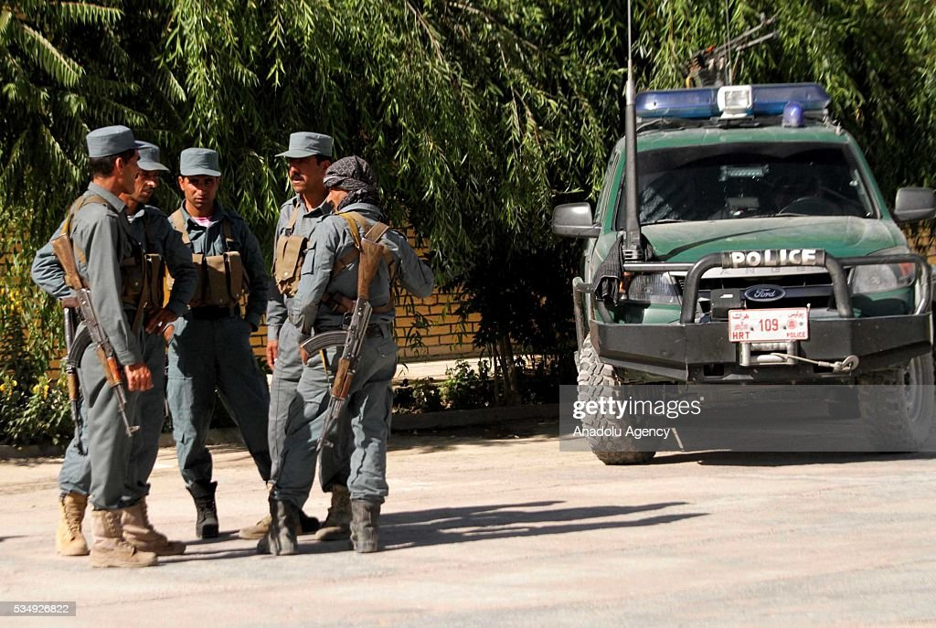 Security forces take security measures following clashes with Taliban militants in Guzara District of Herat, Afghanistan on May 28, 2016. At least 5 killed during the clashes.