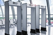 3d rendering security gates or metal detectors in airport