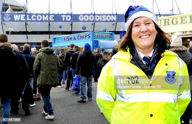 Security get into the Christmas spirit during the Barclays Premier League match between Everton and Leicester at Goodison Park on December 19 2015 in...