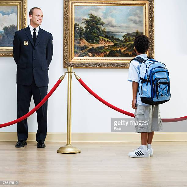 Security Guard and Elementary Student at Art Gallery
