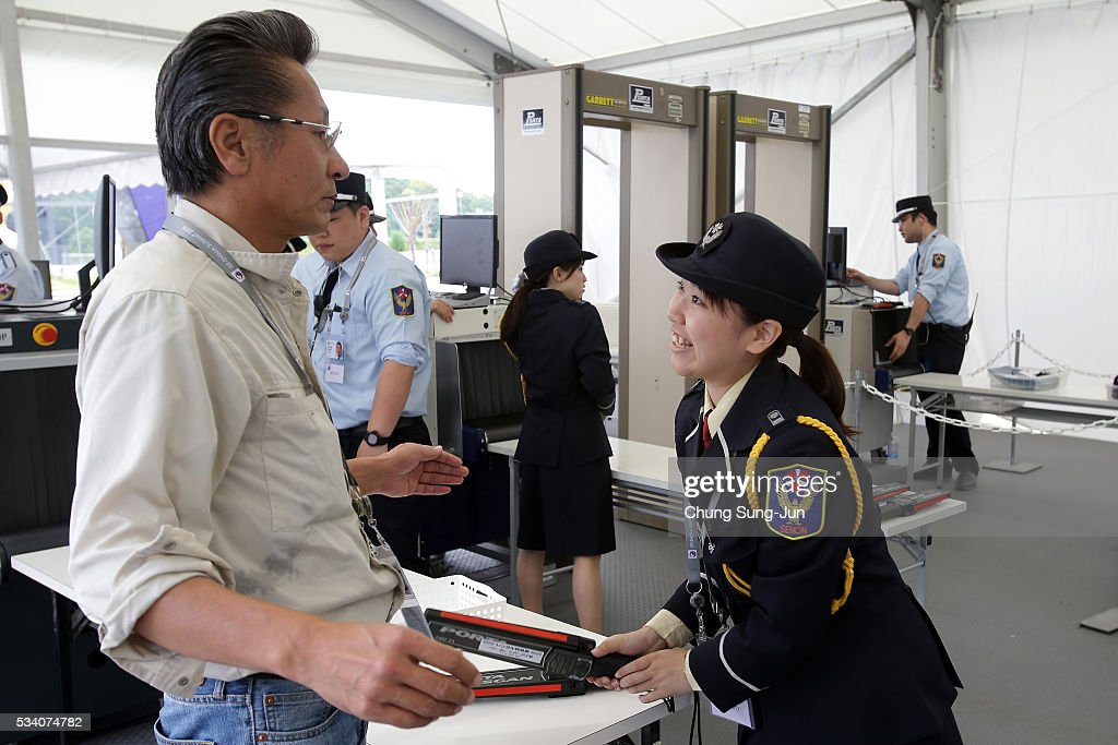 Security guard check people at the IMC on May 24, 2016 in Shima, Japan. The G7 summit will be held in Kashikojima Island of Japan on May 26 and 27, 2016.