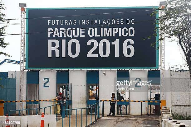 A security guard keeps watch at the entrance to Olympic Park the primary set of venues being built for the Rio 2016 Olympic Games on April 16 2014 in...