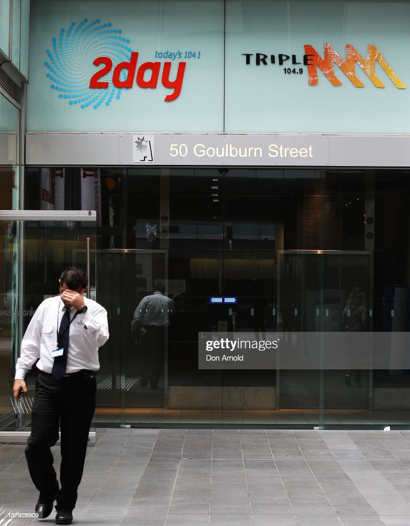 A security guard mans the entrance to the 2dayFm offices in Goulburn Street on December 8, 2012 in Sydney, Australia. 2dayFM Radio Presenters Mel Greig and Michael Christian have been taken off air following the suicide of royal nurse Jacintha Saldanha. Nurse Saldana took a prank call from the presenters while working at the King Edward VII Hospital where Catherine, Duchess of Cambridge was receiving treatment.