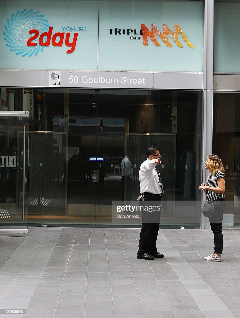 A security guard mans the entrance to the 2dayFm offiices in Goulburn Street on December 8, 2012 in Sydney, Australia. 2dayFM Radio Presenters Mel Greig and Michael Christian have been taken off air following the suicide of royal nurse Jacintha Saldanha. Nurse Saldanha took a prank call from the presenters while working at the King Edward VII Hospital where Catherine, Duchess of Cambridge.