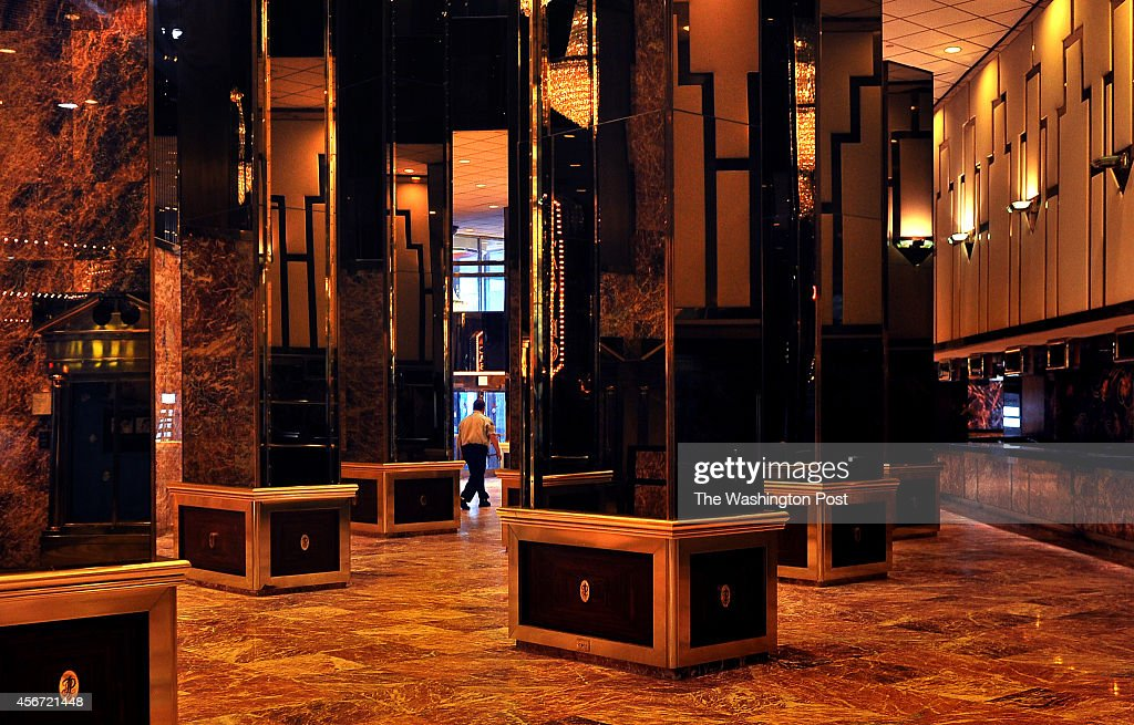 A security guard patrols the lobby of the Trump Plaza hotel and casino that closed on September 14th of this year Because of the closing about 1000...