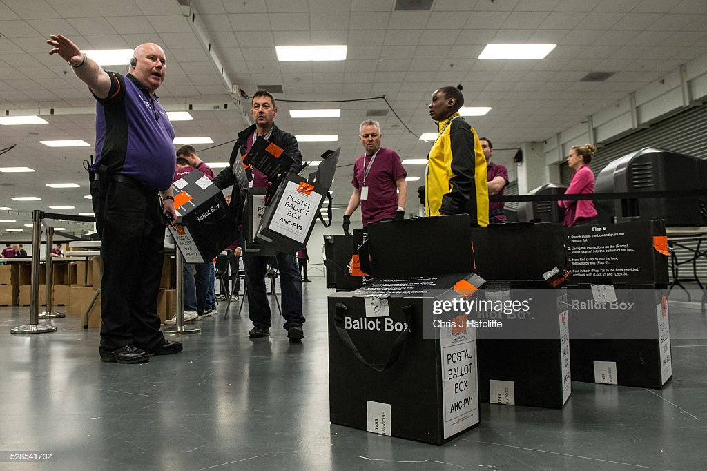 A security guard shows a counter where to put empty ballot boxes during the London Mayoral and Assembly election count at Kensington Olympia on May 6, 2016 in London, England. This is the fifth mayoral election since the position was created in 2000. Previous London Mayors are Ken Livingstone for Labour and more recently Boris Johnson for the Conservatives. The main candidates for 2016 are Sadiq Khan, Labour, Zac Goldsmith, Conservative, Sian Berry, Green, Caroline Pidgeon, Liberal Democrat, George Galloway, Respect, Peter Whittle, UKIP and Sophie Walker, Wonmen's Equality Party.
