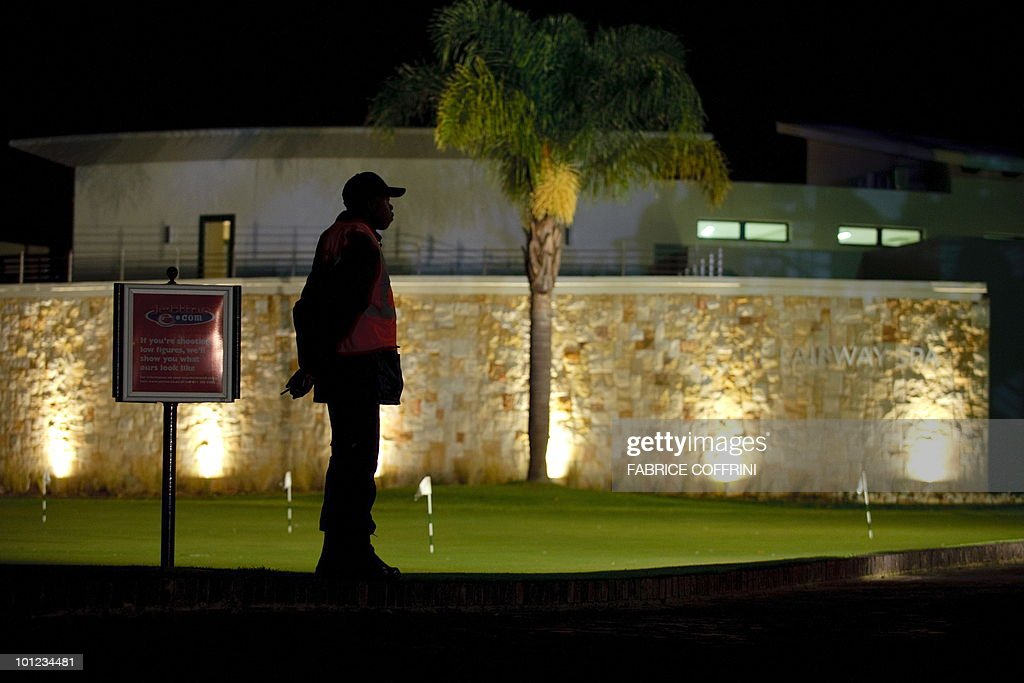 A security guard stands in front of the Fairway Hotel and Spa on May 28, 2010 in Johannesburg, were the Brazil's national football team stays during the FIFA World cup 2010 in South Africa.