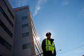 A security guard stands in front of University Hospital in Newark where Nurse Kaci Hickox was quarantined before her release on October 27 2014 in...
