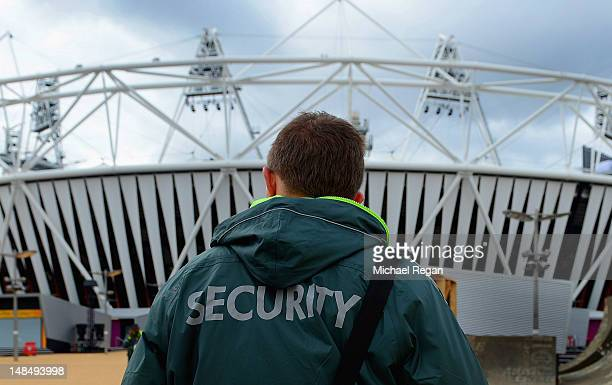 A security guard stands out side the Olympic Stadium at Olympic Park on July 18 2012 in Stratford London England
