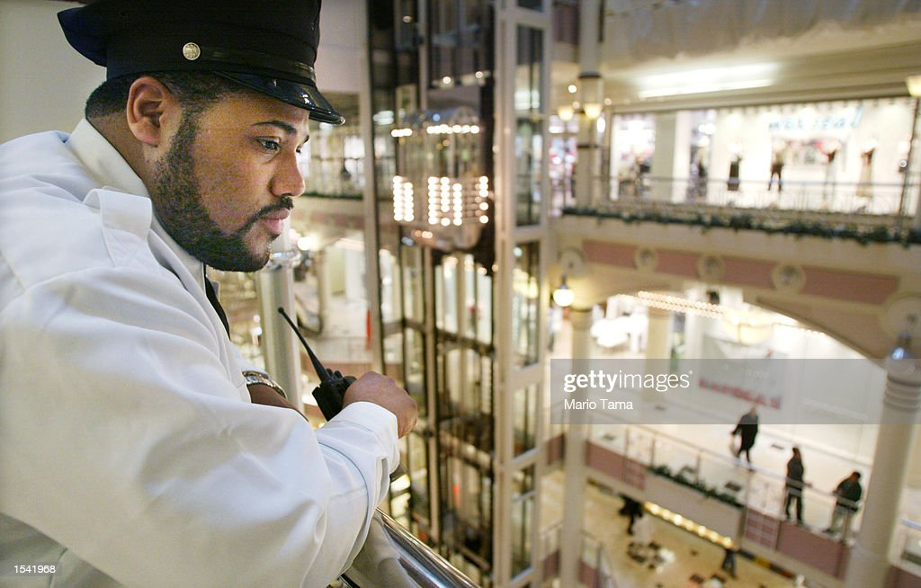 Security guard Stanley Haynes keeps watch in the Manhattan Mall May 13, 2002 in New York City. Time magazine reports the FBI issued a warning to its field offices that al-Qaeda operatives were planning attacks on 'soft targets' including malls, supermarkets and apartment buildings.