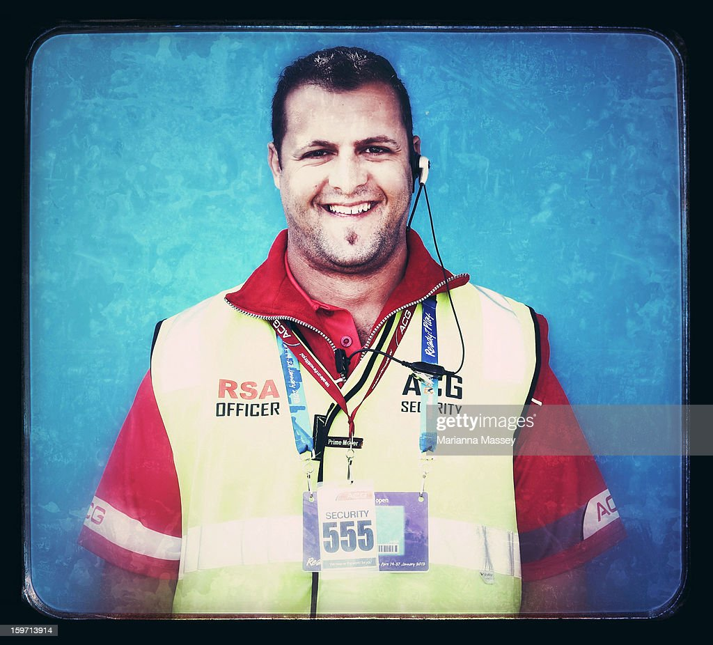 Security guard Tony Jriege, 37, from Melbourne attends the 2013 Australian Open at Melbourne Park on January 19, 2013 in Melbourne, Australia.