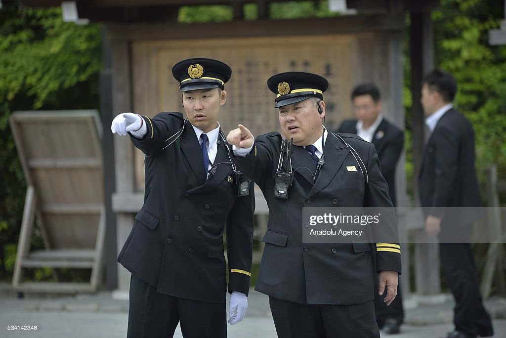 Security guards of the Ise Shrine prepare to welcome Prime Minister Shinzo Abe before his visit to the Ise Jingu (Shrine) on May 25, 2016 in Ise, Mie Prefecture, Japan on May 25, 2016.