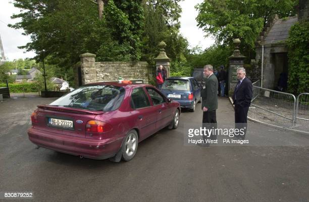 Security guards screen parishioners of St Salvator's Protestant Church attending the Sunday service which is within the grounds of Castle Leslie in...
