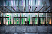 Security guards stand inside One World Trade Center which opened today on November 3 2014 in New York City The skyscraper is 104 stories tall and...