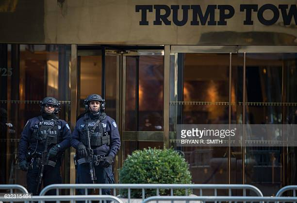 Security in front of Trump Tower during the Women's March in New York City on January 21 2017 in New York Hundreds of thousands of people flooded US...