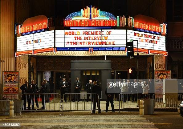 Security is seen outside The Theatre at Ace Hotel before the premiere of the film 'The Interview' in Los Angeles California on December 11 2014 The...